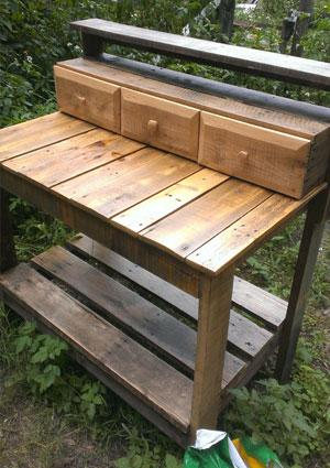 pallet and drawer potting bench