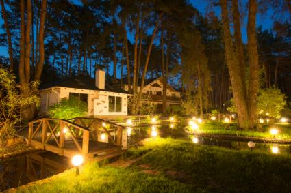 Outdoor landscape lighting ideas lovetoknow by brian barth landscape designer water feature with dramatic lighting aloadofball Image collections