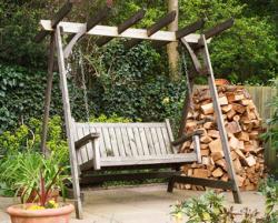 free-standing wood swing