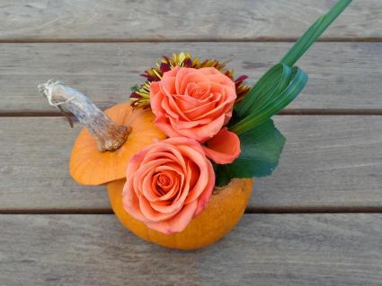 Flowers in pumpkin