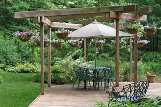 Outdoor pergola on patio