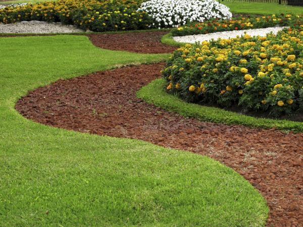 Park design with flower beds