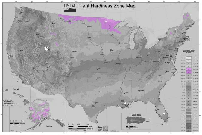 USDA Plant Hardiness Zone Map - Zone 3