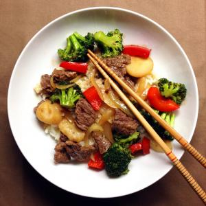 Bowl of beef and water chestnut