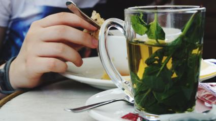 Glass mug of herbal tea
