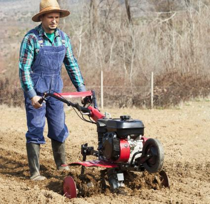 Man cultivates the land with the cultivator