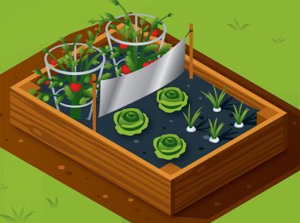 Foil across raised garden bed