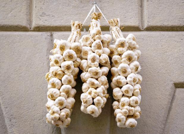 Garlic Hanging On Wall