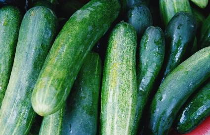Shot Of Wet Zucchinis