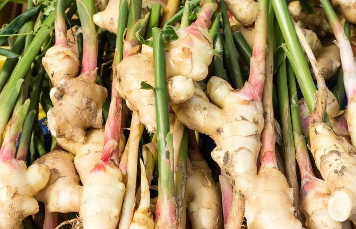 Display of fresh ginger root