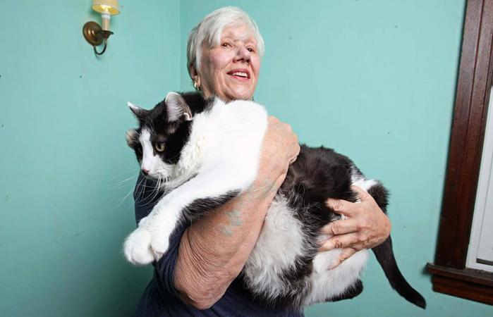 Stacy Jones Olandt con gato Sprinkles