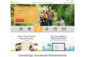 Screenshot of Family Search website