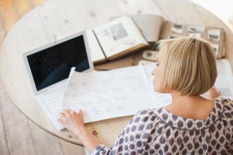 Woman looking at genealogy