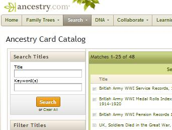 Ancestry.com British army service records search