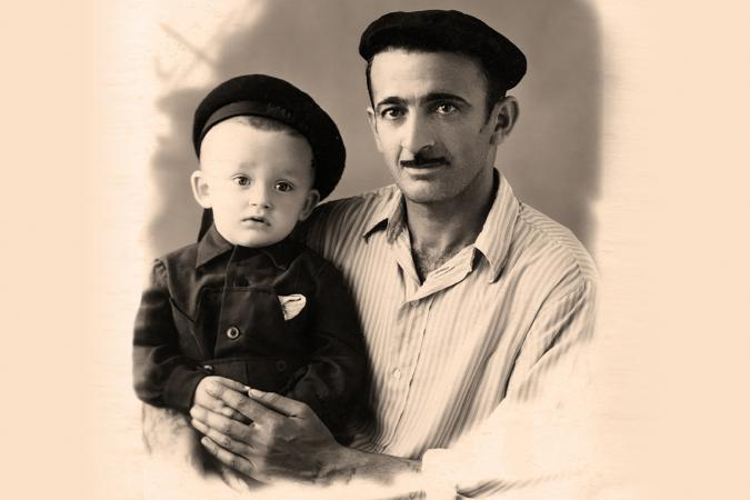 old photo of father and son