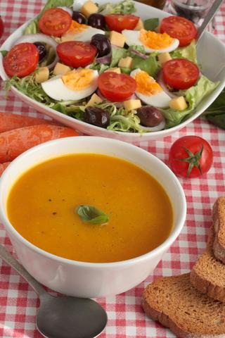 butternut soup and salad