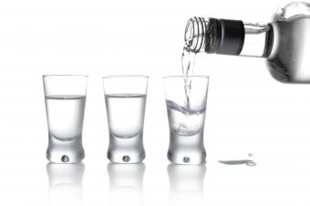 vodka poured into glass
