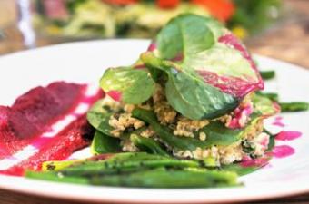 Gluten free fish, quinoa and sorrel leaves