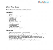White rice bread recipe
