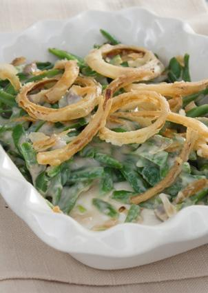 Green bean casserole with onions