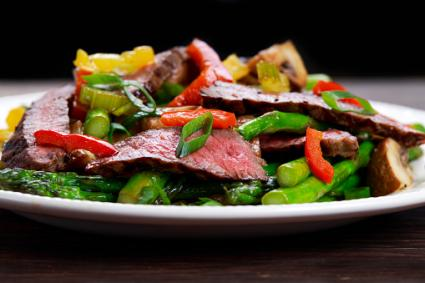 Grilled steak with stir-fried vegetables