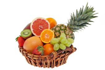 Fruit basket with grapefruit and oranges