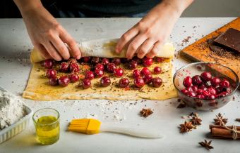 Strudel with chocolate and cherries