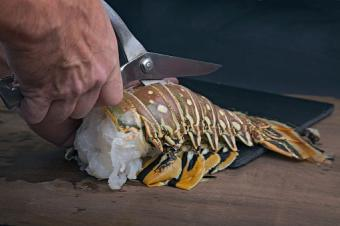 Cut top of lobster shells lengthwise