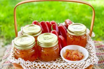 Jars of peach jalapeño jelly