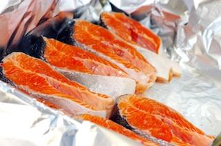 Fresh salmon in foil