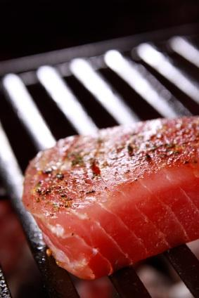 Tuna steak on a grill