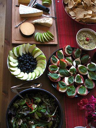 Bleu Cheese, Salad, Fruit, Dip and Canapes