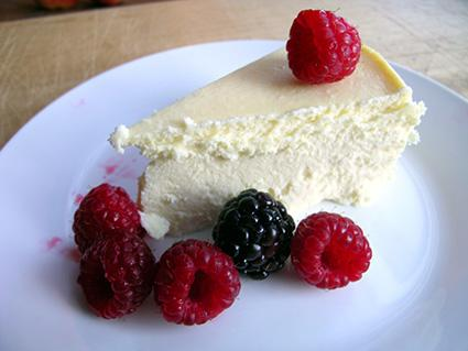 Vanilla bean cheesecake with berries