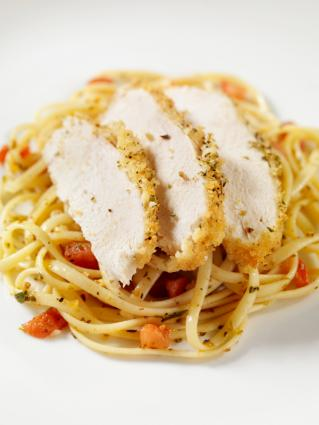 Sliced Panko Chicken Over Linguine