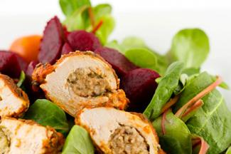 bacon, apple, sage stuffing chicken roulade