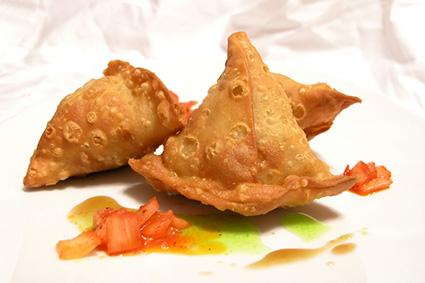 Samosa and garnish