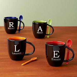 Initial mug with spoon