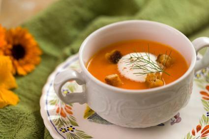 Carrot soup with crème fraiche