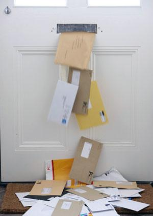 Junk mail being delivered