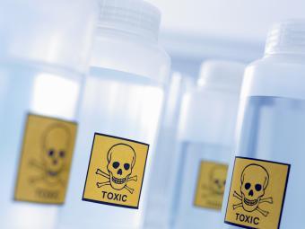 Bottles labeled toxic