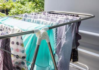 Clothes drying rack on dorm balcony