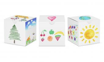 Set of three paper square boxes