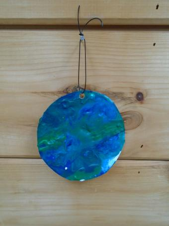 Completed Melted Crayon Earth Ornament