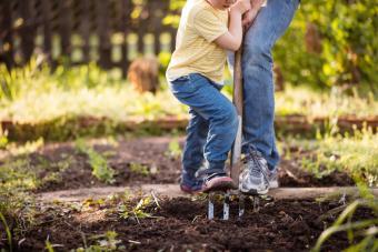 Girl kid helping her mother in garden