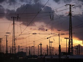 Overhead power line on railway tracks in Berlin