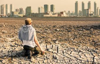 man after the effects of global warming