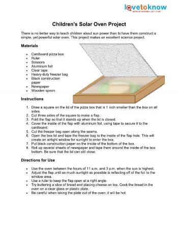 Solar oven lovetoknow for How to make a simple solar panel for kids