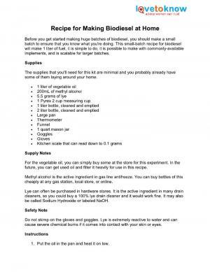 biodiesel recipe