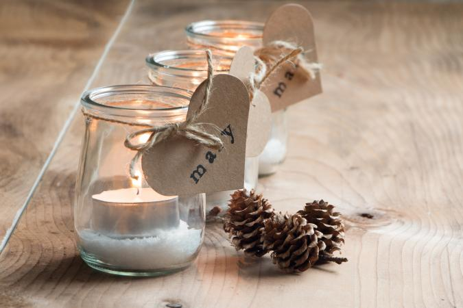 Recycle materials into table decorations