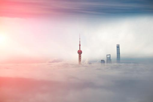 commercial buildings in the smog